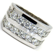 3.75ct 18 stones Mens 14k White Gold Round SI2 Big Diamond Band Ring