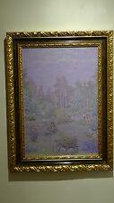 Serge Ponomarew - Huile sur toile signée - arbres et lande violette