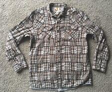 OCEAN PACIFIC Patchwork Shirt L Brown Plaid Vintage VTG