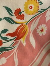 Vintage 100% Cotton Pink Yellow Red Floral Tablecloth No Stains 32x36 In.