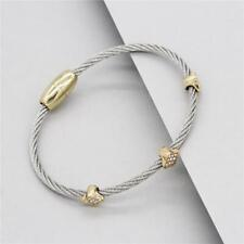 CLASSIC Magnetic Bangle BRACELET Elegant FASHION Delicate Cable Wire CZ JEWELRY