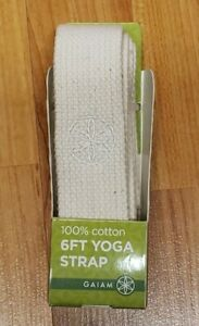 Gaiam 100% Cotton 6FT Yoga Strap *NIP* Beige Machine Washable