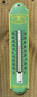 VINTAGE JOHN DEERE PORCELAIN THERMOMETER METAL SIGN OIL TRACTOR FARM GAS PUMP