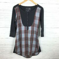 We The Free Women's Blue Red Plaid Shirt Button Front Tunic Top Free People S