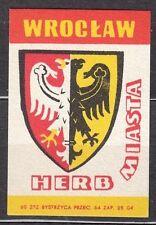 POLAND 1960 Matchbox Label - Cat.Z#194I,  Arms Town - WROCLAW.