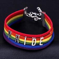 Rainbow Flag Pride LGBT Charm Braided Bracelet Gay Lesbian Love Bangle multi uk
