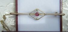 9ct Antique Ruby & Seed Pearl Bar brooch with Safety chain  55 x15 mm 2.4 grams