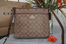 NWT Coach F29210 Signature Coated Canvas Crossbody File Bag Khaki/Saddle 2 $225