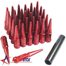 Red 32pcs For Ford F250 F350 Dodge Ram 2500 3500 Spike Wheel Lug Nuts 9/16-18