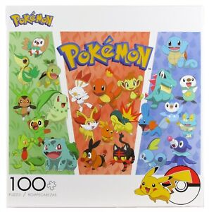 Pokemon 100pc Puzzle Grass Fire Water Bulbasaur Charmander Squirtle Scorbunny