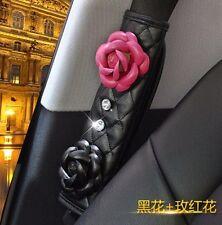 2pcs Fashion  Lady Camellia Diamond Car Auto Seat Belt Cover Shoulder Pad