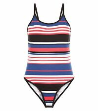 NEW LOOK RED WHITE BLUE BLACK STRETCH COTTON STRAPPY VEST CAMI BODYSUIT 12 or 16