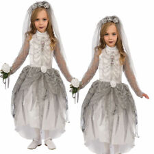 Girls Skeleton Zombie Bride Costume Childs Halloween Corpse Fancy Dress Outfit K
