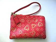 Coach WAVERLY Hearts Signature Wristlet LOVE RED & GOLD EUC
