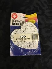 "D20- Hygloss Products Inc. Decorative Doilies 4"" White Hearts 100/Pk"