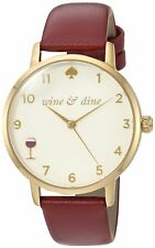Kate Spade KSW1188 Women's Wine And Dine Metro Merlot Leather Watch 34mm