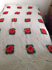Vintage HANDMADE Crocheted White Afghan Advanced-Knit Red Rose LARGE Quilt Throw