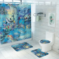 Dolphin Bathroom Rug Set Shower Curtain Non Slip Toilet Seat Lid Cover Bath Mat