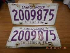 "ILLINOIS LICENSE PLATES ""2009875"" 1958 (2) PLATES USED"