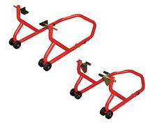 BikeTek Series 3 Front And Rear Track Paddock Stand Set - Red