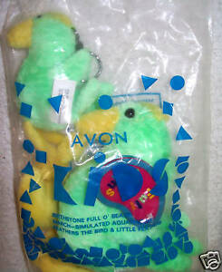 Avon Kids Full o' Beans Green Feathers Bird + Key chain Set NEW March 2000
