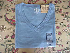 *NWT* Route 66 S/S V-Neck Comfy Cotton Knit Tee Blue S