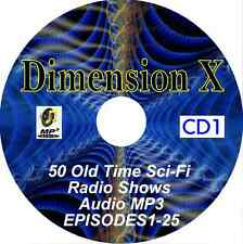 Dimension X 50 Old Time Radio Shows Sci-Fi MP3 Audio 2 CDs Science Fiction OTR
