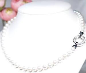 LUXUS Akoya Perlenkette Designer Schliesse 925er Silber Zirkonias (AG1)