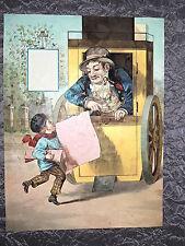 Grand chromo fin XIXe. Le petit vendeur de journaux - Format 25 x 36 cm.