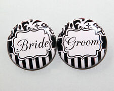 "2 BRIDE AND GROOM Black White Pattern - Buttons Pinbacks Badges 1.5"" Wedding"