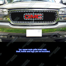 Fits 1999-2000 GMC Sierra 1500 W/Logo Show Stainless Black Rivet Grille Inserts