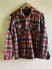 RARE Vtg 70s PENDLETON Red S Logger Trucker Surfer Plaid Elbow Patches Wool USA