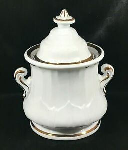 Vintage LIVESLEY POWELL White Gold Trim Covered Sugar Bowl Canister