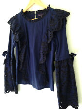 NWT AMARYLLIS Blue Black Striped Eyelet Ruffled Romantic Bell Sleeve Top M/L