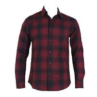 Adidas Men's Check Shirt Long Sleeve Neo Label Shirts - Red / Black - S02847