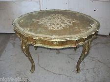 ANCIENNE TABLE BASSE DE STYLE FLORENTIN EN BOIS DORÉ ET PEINT/SHABBY CHIC USÉE