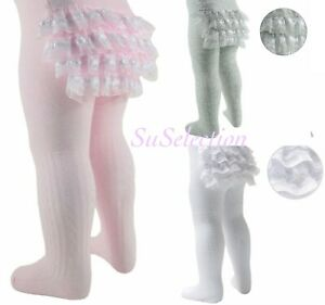 BABY GIRL LACE FRILLY BUM TIGHTS-PINK/GREY/WHITE-NB/3-3/6-6/12-12/18 MONTHS- NEW
