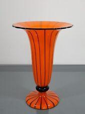 Glasvase, Lötz Wwe,Klostermühle,Powolny,Orange mit Streifen,Jugendstil,  26,5 cm