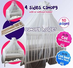 LUXURY 4 SIDES CANOPY/DRAPE +HOLDER - FIT COT 120X60CM or COT BED 140X70 CM
