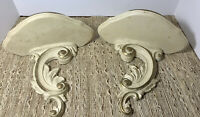 Vintage SYROCO WOOD Wall Sconces SHELVES French Provincial WHITE & GOLD  MCM