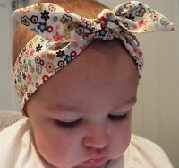 PINK DITSY FLORAL FLOWERS HEADWRAP WRAP HEADBAND KNOT BOW BABY TODDLER GIRLS NEW