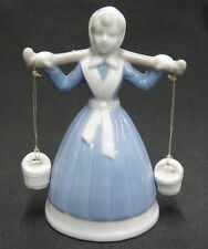 Girl Carrying Water Buckets on Shoulders Porcelain Figurine Bell Blue White