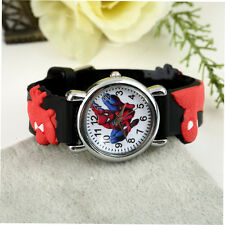 Spider Man Marvel Cartoon Child Boys Kids Analog Quartz Wrist Watch Rubber FE