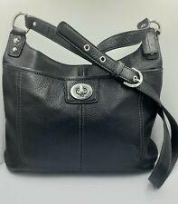 NWOT Coach Black Pebble Leather Crossbody purse Twist Latch Side Pocket Snap Top