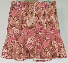 Ann Taylor LOFT pink brown beige floral corduroy fit & flare skirt ladies 6