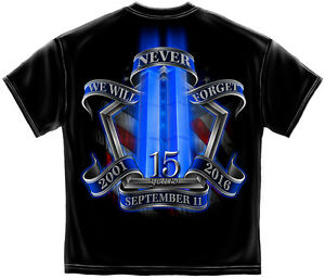 We Will Never Forget 15th Anniversary 9-11 Firefighter New Black T-Shirt