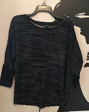 Trouve Womens Grey Black Sweater Long Sleeve Leather Detail Size Small