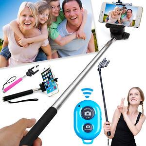 Bluetooth Self Portrait Selfie Stick Shutter Extendable Monopod Pole #SS6