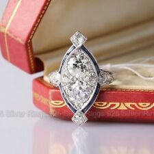 Antique 2Ct White Round Diamond 14k White Gold Over Filigree Vintage Ring