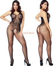 Sexy Lingerie Womens Black Fishnet Full Length Stocking Bodysuit Body Stocking